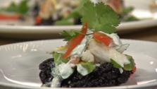 Crispy Fried Black Rice Cakes with Crab