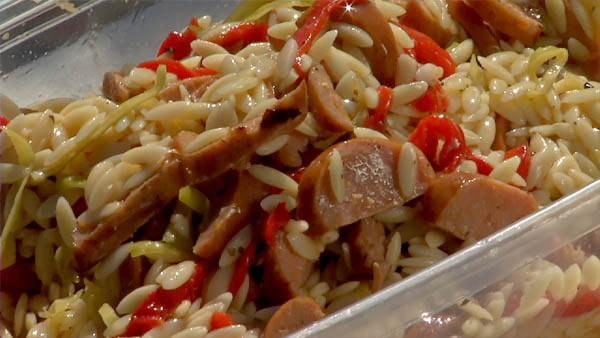 Grilled Andouille Sausage Orzo Salad