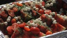 Watermelon Tomato Mozzarella Salad with Salsa Verde Vinaigrette