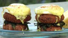 Island Taro and Crab Cake Benedict