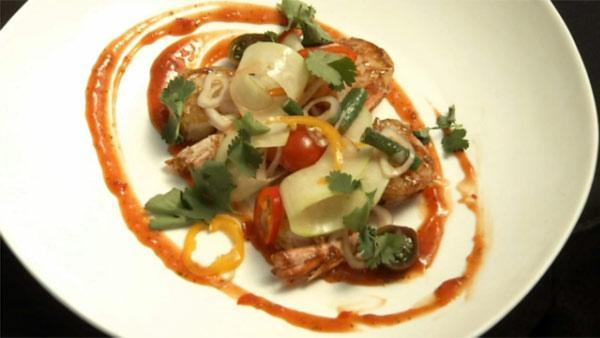 Singaporean Pepper Shrimp with Green Papaya Salad & Thai Ketchup