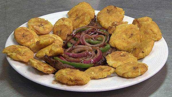 Bistek Saborizado with Tostones and Chiles
