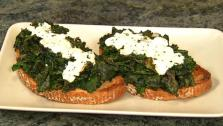 Braised Kale and Feta Tartines