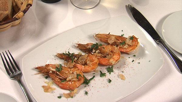 Prawns with Garlic Chips and Preserved Lemon