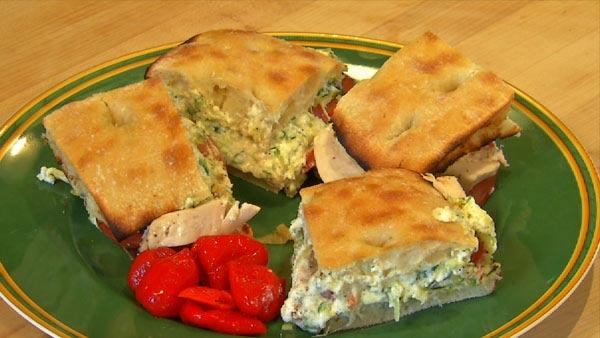 Chicken with Zucchini and Ricotta Focaccia Sandwiches