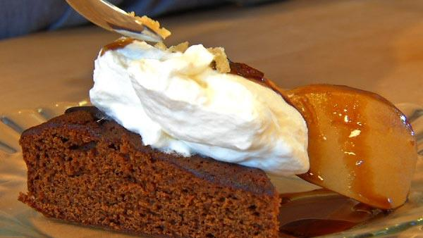 Gingerbread with Rootbeer Poached Pears