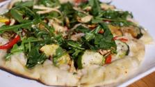 Grilled Summer Vegetable Pizza topped with Arugula and Artichoke Salad