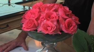 Bulletin Board Makeover and Elegant Rose Arrangement