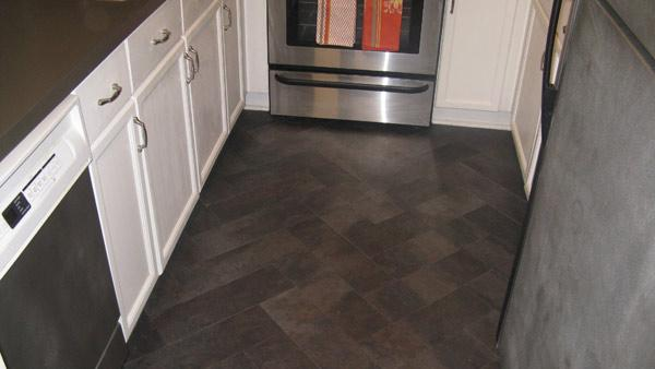 Vinyl Flooring Installed In Herringbone Pattern