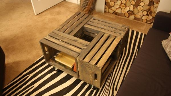 Diy coffee table knock it off the live well network for How to make a coffee table out of crates