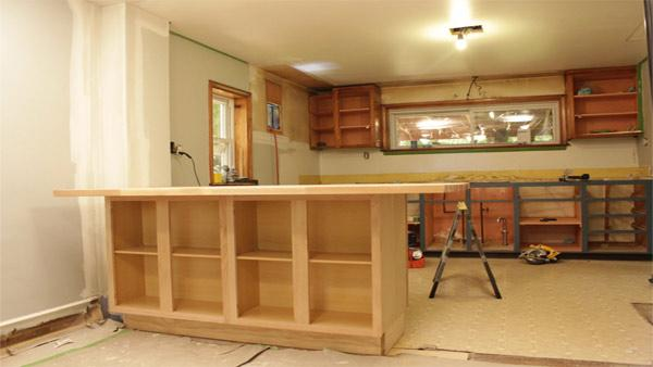 Diy kitchen island knock it off the live well network for Diy kitchen cabinets