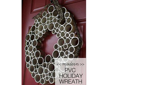 DIY Holiday Wreath from PVC Pipe