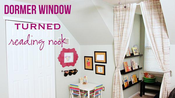 Dormer Window Space to Kids Reading Nook with Magnetic Wall