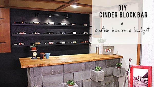 Diy Concrete Cinderblock Bar With Diy Basement Bars
