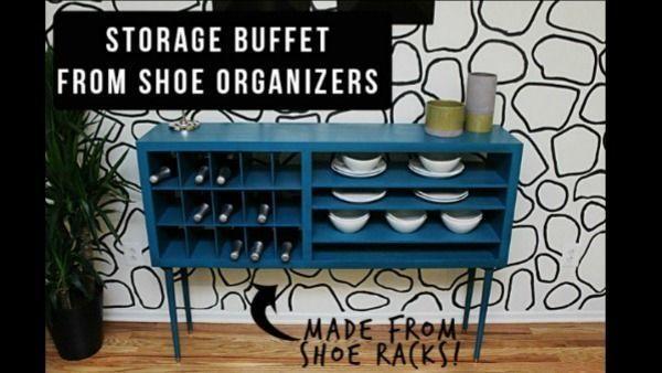 DIY Sleek Modern Buffet Made From Shoe Racks