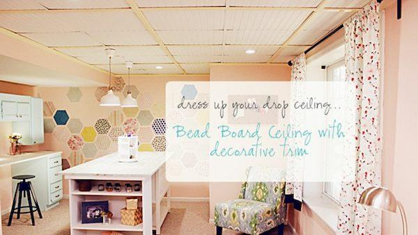 diy drop ceiling makeover with cottage chic beadboard tiles - Drop Ceiling Makeover