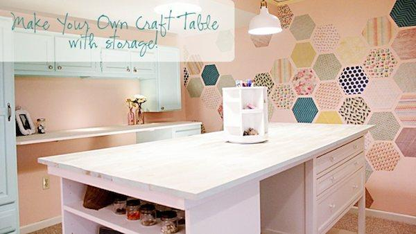 Diy craft table with storage knock it off the live for Small craft table with storage