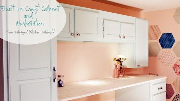 DIY Craft Storage Cabinets From Mismatched Kitchen Cabinets