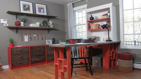 eclectic home office. Leah\u0027s Home Office Is Cluttered, Mismatched And Has No Sense Of Her Fun,  Colorful Style. Design Bloggers Monica Jess Pull Off A Surprise Makeover With Eclectic