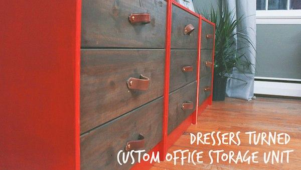 DIY Office Storage And Filing Unit From Plain Dressers
