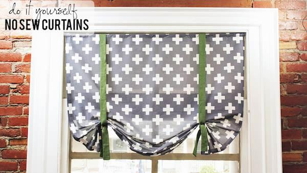 DIY No-Sew Fabric Roman Shade Curtains