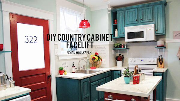DIY Cabinet Refacing With Wallpaper