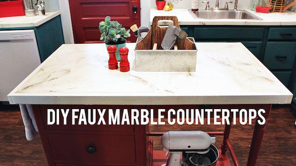 DIY Faux Marble Kitchen Countertops