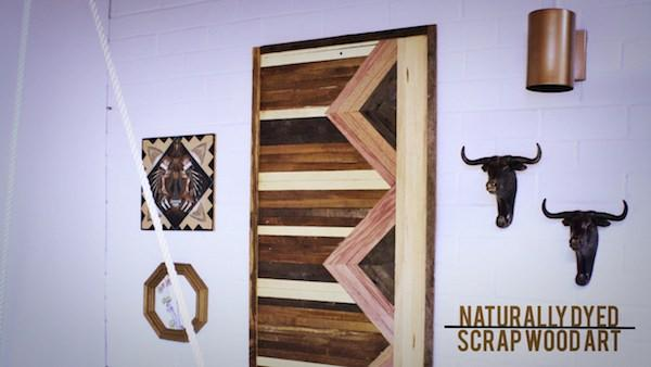 Diy reclaimed wood art knock it off the live well network - Scrap wood decorated house ...