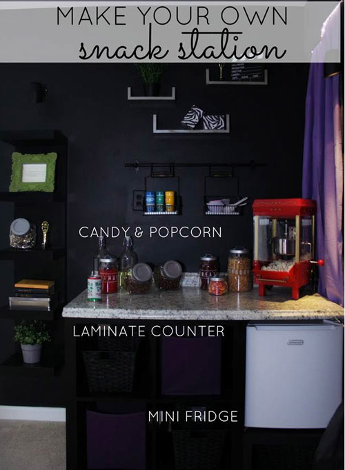 No movie theater would be complete without popcorn and candy. Here's how to create your own DIY concession stand at home, complete with a popcorn maker, a mini fridge and more!