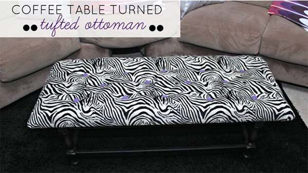 Want an expensive upholstered ottoman for your living room without the high price tag? Here's how to DIY it using an old thrift store coffee table. This entire easy DIY project costs less than $90.