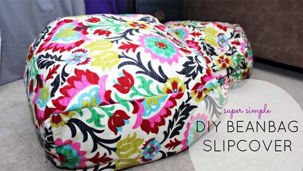 Need some inexpensive moveable seating for guests when you entertain? Here's an easy solution: slipcovers for cheap beanbag chairs. Buy them during back-to-college sales and cover them with fabric that matches your decor.