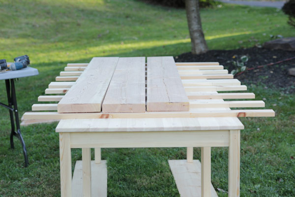 5 Of 8: After Your Subframe Is Secure, You Will Now Measure And Cut Down  Your Pine Planks That Will Become Your Farmhouse Table Top. We Went With 10  Foot ...