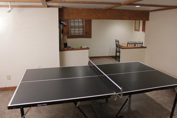 The other side of the room contained a ping pong...