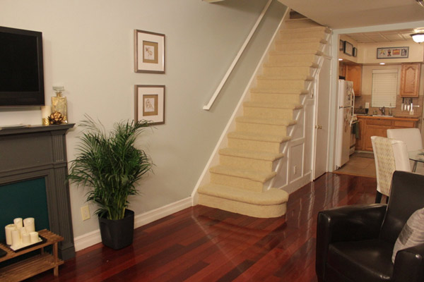 The team removed the stair rail and recarpeted...