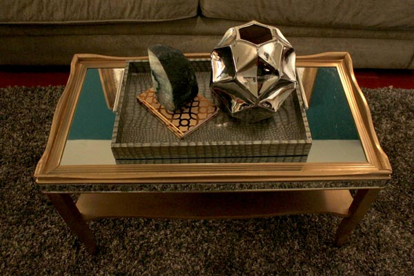 Monica and Jess made this mirrored coffee table...