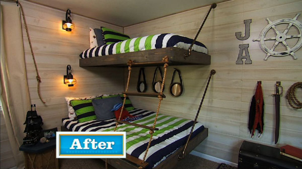 Stain or paint the bunk beds with your desired...