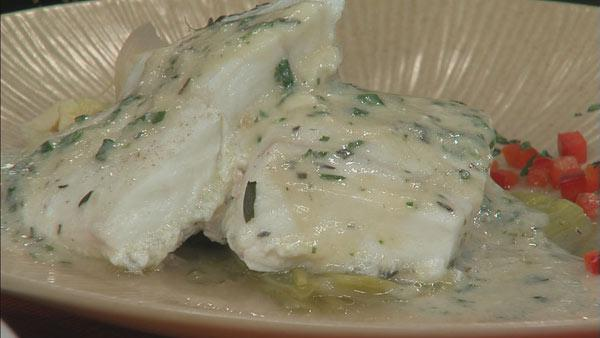 Herb Poached Halibut with Braised Leeks