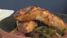 Curry Miso Marinated Salmon with Roasted Potatoes and Asparagus