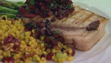 Grilled Swordfish Steaks with Black Olive Relish
