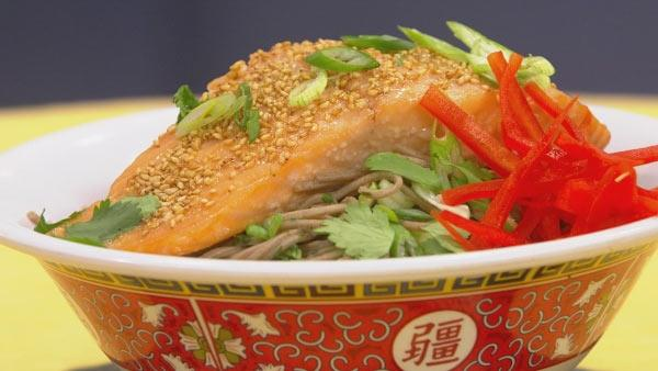 Sesame Miso Salmon with Soba Noodles
