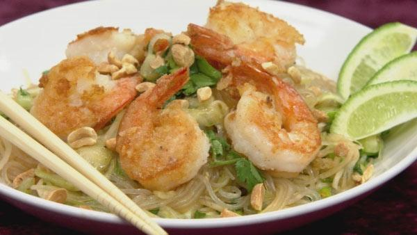 Asian Noodle Salad with Sauteed Shrimp