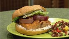 Grilled Salmon Sandwich with Black Olive Aioli