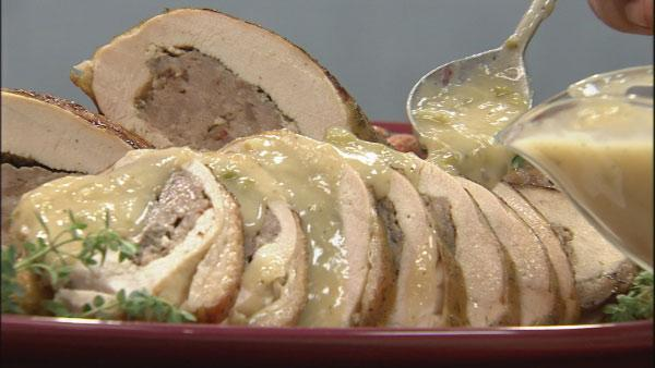 Grilled Sausage Stuffed Turkey Breasts