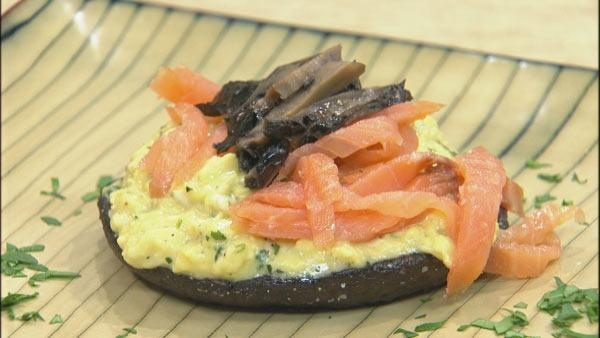 French Scrambled Eggs with Smoked Salmon and Roasted Portobellos