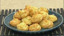 These blue cheese goug�res, cheesy and savory cream puff, is one of the most common appetizers served in France.