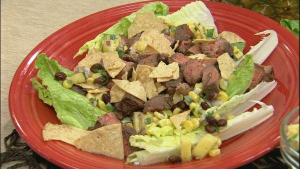 Steak, Black Bean, Corn and Pineapple Salad