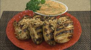 Grilled Herb Stuffed Chicken Breasts with Spicy Peanut Sauce