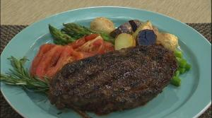 Grilled Bison Steak with Curried Tomatoes