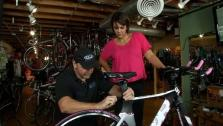 Ali Checks Out New Bike For Race