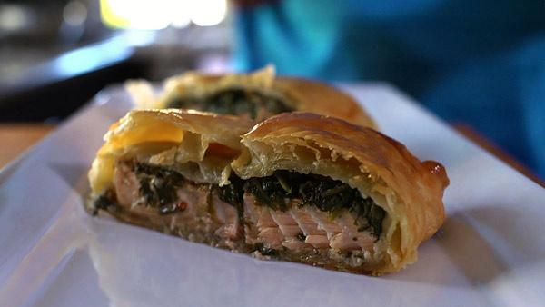 Salmon Stuffed Puff Pastry